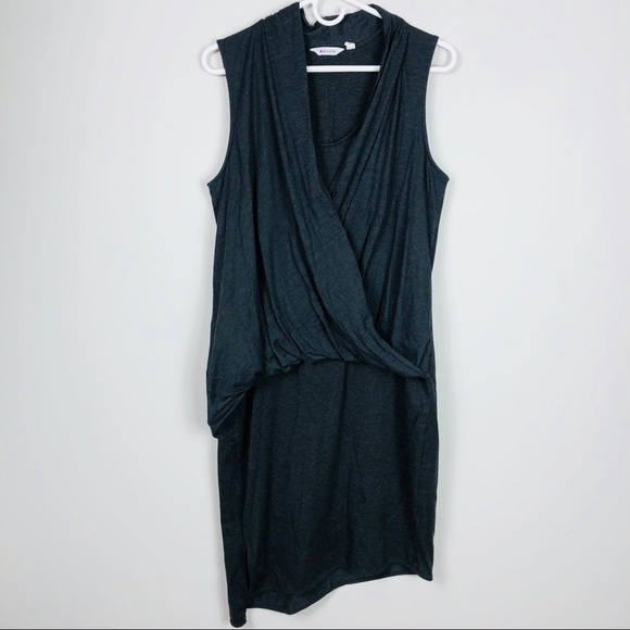 Athleta Athleta Gray Faux Wrap Front Dress Stretch Large